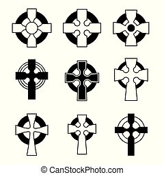 celta, jogo, collection., crucifixos, sinal, cruzes,...
