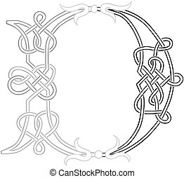 celta, knot-work, letra maiúscula, d