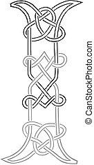 celta, knot-work, letra maiúscula, i