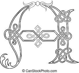 celta, knot-work, letra maiúscula, um