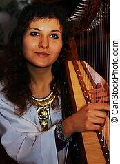 celta, mujer, joven, disfraz, histórico, juego, arpa