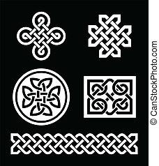celta, nó, padrões, ligado, pretas
