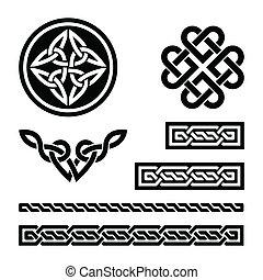 celta, nó, tranças, e, padrões, -