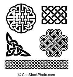 celta, nudos, trenzas, y, patrones