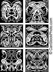 celta, ornamento, fantástico, nudo, aves