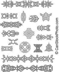 celta, ornamentos, e, embellishments