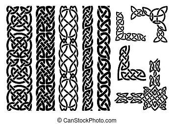 celta, padrões, e, celta, ornamento, cantos