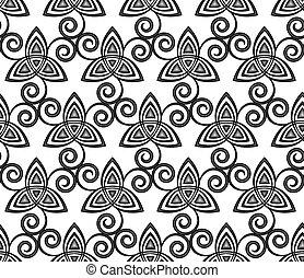 celta, patrón, triskels, seamless, vector, negro, blanco