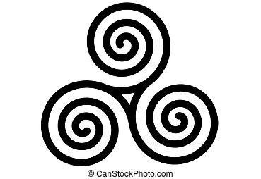 celta, triskele, espiral, triplo, ou
