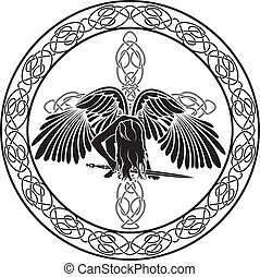 Celtic angel in ornamental circle
