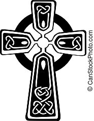 An illustration of a Celtic cross with a beautiful design, isolated on white background