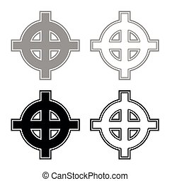 Celtic cross grey black superiority icon set grey black color vector illustration outline flat style simple image