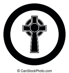 Celtic cross icon black color vector in circle round illustration flat style simple image