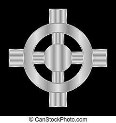 Celtic cross icon on black background. Vector illustration.