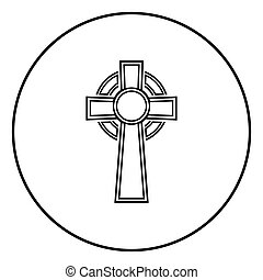 Celtic cross icon outline black color vector in circle round illustration flat style simple image