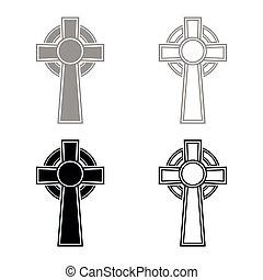 Celtic cross icon set grey black color vector illustration outline flat style simple image