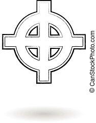 Celtic cross vector sketch