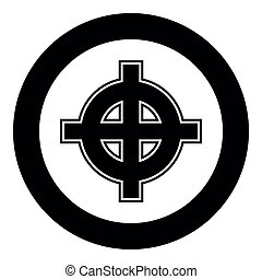 Celtic cross white superiority icon black color vector in circle round illustration flat style simple image