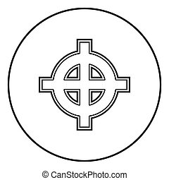 Celtic cross white superiority icon outline black color vector in circle round illustration flat style simple image