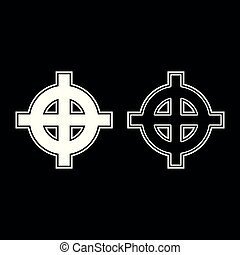 Celtic cross white superiority icon set white color illustration flat outline style simple image