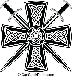 Celtic cross with the crossed swords