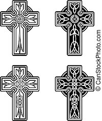 A variety of Celtic crosses.