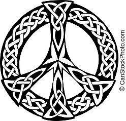 An illustration of a Celtic design with a pattern of knotted lines, isolated on white background. Peace symbol, great for tatto or artwork.