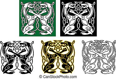 Celtic dogs and wolves with ornament elements