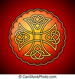 Celtic emblem in red circle with ornaments
