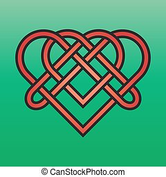 Celtic Endless Knot - Celtic endless knot red on a green...