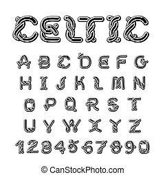 Celtic font. norse medieval ornament ABC. Traditional ancient manuscripts alphabet