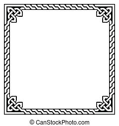 Irish, Celtic black square pattern isolated on white