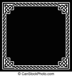 Celtic frame, border white pattern - Irish, Celtic black...