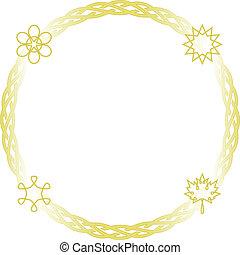 Celtic frame - round - Vector celtic seasons frame in gold