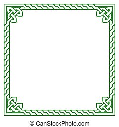 Celtic green frame, border pattern - Irish, Celtic square...