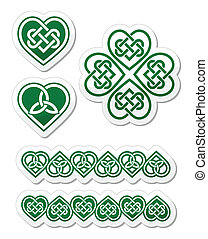 Celtic green heart knot patterns - Embroidery heart and...