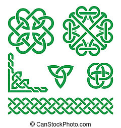 Celtic green Irish knots, braids an - Vector set of...