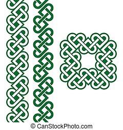 Celtic green Irish knots, patterns