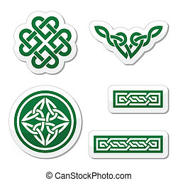 Celtic green knots, braids - Set od traditional Celtic...