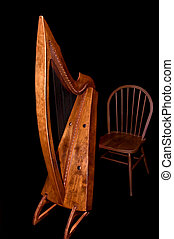 Celtic Harp and Chair - A beautiful classic celtic harp and...