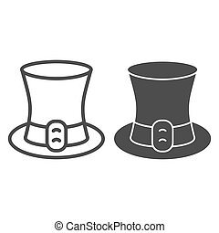 Celtic Hat line and solid icon. Leprechaun cap with a leather strap outline style pictogram on white background. Happy Saint Patrick day signs for mobile concept and web design. Vector graphics.