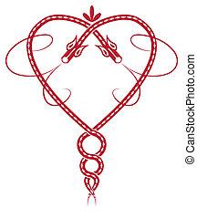 celtic heart - Valentine pattern with celtic dragon like...