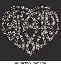 Celtic heart, intertwine knot ethnic symbol - Celtic pattern...