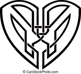 Celtic heart - tribal vector tattoo