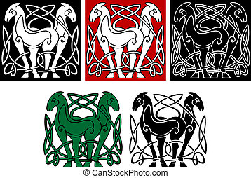 Celtic horses with decorative elements and patterns