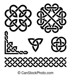 Celtic Irish knots and patterns - Vector set of traditional...