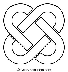 Celtic knot icon outline black color vector illustration flat style image