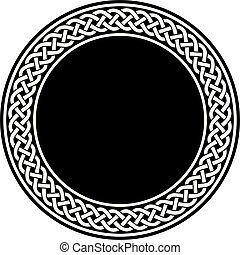 Vector of white ancient round celtic knot meander art in black circle isolated on white