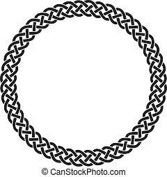 vector of ancient round celtic knot meander art in circle isolated on white