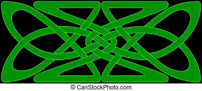 Celtic knot panel - Celtic knot work panel in green on a...
